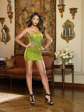 Sexy Seamless Lime Leopard Print Strapless Dress with Studded Neckline Lingerie!
