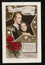 Film Theatre Norma Shearer Leslie Howard BIRTHDAY GREETINGS 1940 PPC