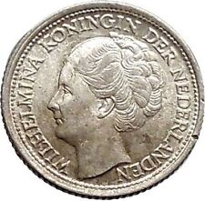 1944 Netherlands Queen WILHELMINA 10 Cents Wreath Authentic Silver Coin i48135