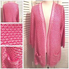 NWOT M&S PER UNA Quality Cotton Pink and White Long Cardigan with Pockets Sze 20