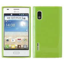 CUSTODIA COVER per LG E610 OPTIMUS L5 SILICONE JELLY CASE VERDE NUOVA