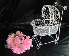 Wire Baby Carriage for Baby Shower or Christening Decorations - White -Item 1006