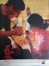 1961 Pepsi Cola Couple Drinking Pepsi Bottle Cheers Original Print Ad
