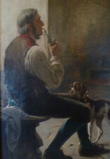 "perfect 24x36 oil painting handpainted on canvas "" smoking man and dog""@N4559"