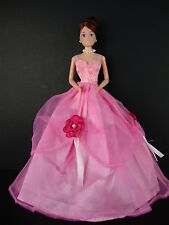 Cute Little Pink Gown with Dark Pink Flower Accents Made to Fit Barbie Doll