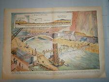 Gravure couleur construction barrage  à Génissiat sur le Rhône