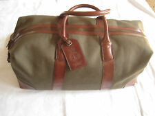 POLO RALPH LAUREN OLIVE CANVAS BROWN LEATHER DUFFLE BAG LUGGAGE TRAVEL-NEW-$425