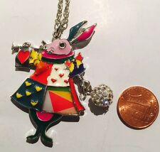 Multicolored Enamel Standing Rabbit With Rhinestone Ball Necklace