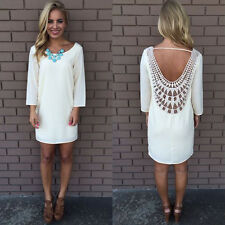Women Lace Chiffon Summer Casual Sleeveless Party Evening Cocktail Dress White L