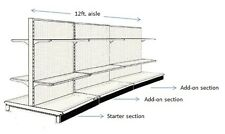 "12' AISLE GONDOLA FOR CONVENIENCE STORE SHELVING USED 54"" TALL 36"" W"