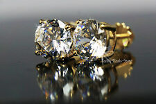 Stud Earrings Brilliant Round Cut VVS1/D 4.02 CT solid real 14K yellow gold new