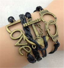 NEW Infinity Anchor handcuffs LOVE ancient bronze Leather Charm Bracelet