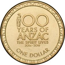 "2014 Australia "" 100 Years of ANZAC "" Centenary $1 One Dollar Coin"
