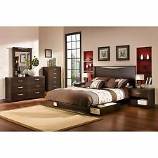 Queen Size Platform Bed Frame Modern Bedroom Furniture with Storage Drawers