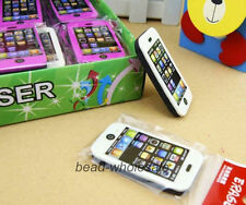 2Pcs Phone Shaped Rubber Pencil Eraser Students toy Prize Stationery Gift