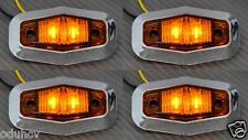 4x LED Side Orange marker lights Truck Lorry Van Bus Renault Iveco Chrome 24V