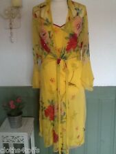 K DERHY DRESS AND COVER UP JACKET BRIGHT YELLOW BIRD PRINTS UK 10 CRUISE