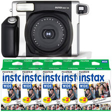 Fuji INSTAX 300 Instant Camera (Black) + Instax Wide Instant Film (100 prints)