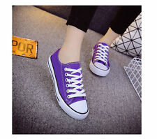 Women/Men's Canvas Casual Low Top Sneakers Lace Up Flat Plimsoll Shoes 21 Colors
