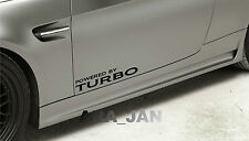 POWERED BY TURBO Vinyl Decal sticker sport racing car skirt door logo BLACK