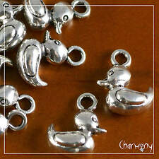 3D Baby Rubber Duck charms PACK of 10~Tibetan silver duckling pendant bead