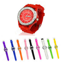 10 Colors Sport Wrist Watch Lady Bling Crystal Silicone Bracelet Cool BRAND NEW