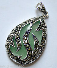 Natural Green Jade & Marcasite Teardrop 925 Sterling Silver Pendant