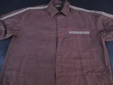 Cubavera Mens Lounge Button Front Short Sleeve Brown Cuban Shirt Large L