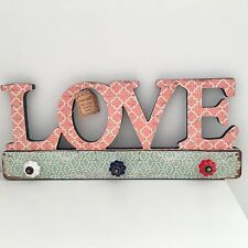 VINTAGE STYLE LOVE COAT RACK WOODEN WALL PLAQUE PEG RAIL SHABBY PASTEL CHIC GIFT