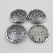 Set of 4 AUDI Face 69mm  ALLOY WHEELS CENTER CAPS SET , Silver