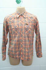 VINTAGE WRANGLER HEAVY DUTY CHECK FLANNEL LIGHT SHIRT WESTERN WORKWEAR S SMALL