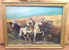 *GORGEOUS* ANTIQUE ESTATE SIGNED F LEVESQUE MIDDLE EASTERN HORSE OIL PAINTING!!!