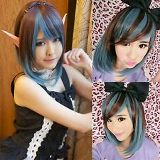 fashion cosplay anime short bob straight wig brown+blue mix hair lolita wig