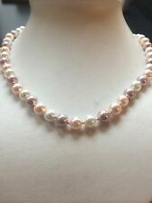 """AAA 8mm Natural Multicolor round pearl necklace 18"""""""
