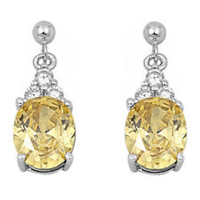 DANGLING OVAL CITRINE  & CZ .925 Sterling Silver Earring