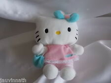 Doudou, peluche Hello Kitty robe rose, sac et noeud bleu SANRIO JEMINI