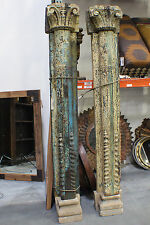 "94"" Tall Antique Wooden Pillar Set Concrete Base SLC UT Furniture Sale Event"
