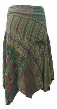 Gringo Fair Trade Green Cotton Embroidered Boho Hippy Folk Pixie Skirt Medium