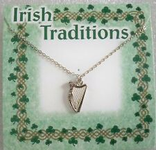 """Irish Harp necklace on 18"""" silvertone chain, made in USA, carded"""