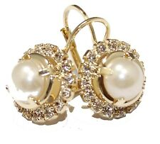 Bridal Cubic Zirconia and Pearl Leverback Earring 18k Gold Plated Earrings