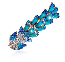 Turquoise Rainbow Pearls & Rhinestones Flower Hair Barrette Accessories HA153