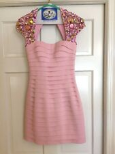 SHERRI HILL PINK SZ 2 STONED CAP SLEEVE HOMECOMING BANDAGE DRESS STYLE 2934