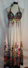 ALYN PAIGE sz M Halter Maxi Dress White w/ Bright Colored Flowers VGC Padded