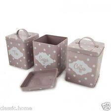 Set di 3 Smalto Rosa E Bianco Polka Dot Tè Caffè Zucchero Barattoli contenitori barattoli NUOVO *