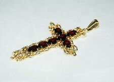 Estate Yellow 18k Solid Gold & Garnet Cross Pendant Unique
