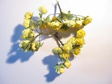 24 YELLOW MULBERRY PAPER ROSES 1cm