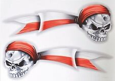 Auto Motorcycle Polish Poland Skull Pirate with Flag Decal Sticker (Set of 2)
