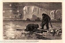 Antique print eskimos eskimo seal hunt North Pole 1869 Eschimese stampa antica