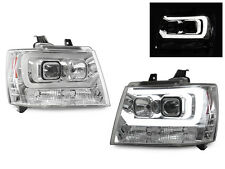 LED NEON Light Bar Projector Headlight For 07-14 Chevy Avalanche Tahoe Suburban