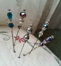 Antique Inspired Victorian Hat Pins Vintage Lampwork Beads Clutch Included